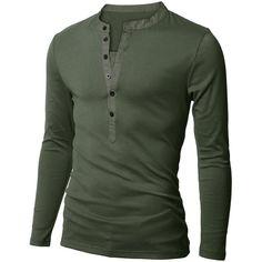 Doublju Mens Long Sleeve Slim Fit Henley Shirts ($19) ❤ liked on Polyvore featuring men's fashion, men's clothing, men's shirts, men's casual shirts, men, shirts, casper schneider, men's tops, mens longsleeve shirts and mens henley shirts