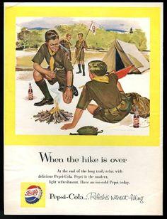 Vintage 1963 Boy Scout Graphic Uniform Add Advertisement Boys Life BSA Double Page Black /& White