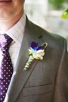 Nashville Garden Wedding Venue Gray Grey Groom Suit with Purple Tie