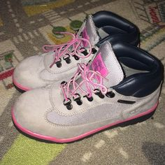 Girls Size 5 Pink & Grey Timberland Boots Size 5 / Timberland / Pink , Grey and Black Timberland Shoes Lace Up Boots