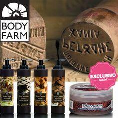 Bodyfarm - Exclusivos Bodybell Productos naturales con un gran número de propiedades beneficiosas extraídas de la naturaleza. Con unas fórmulas tan golosas como vainilla, coco, mango o caramelo. Shower gel, body milk, scrub, body oil, shampoo
