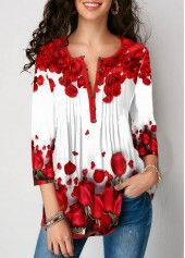 Women'S White Crinkle Chest Rose Floral Print Button Detail Blouse Split Neck Three Quarter Sleeve Tunic Casual Top By Rosewe Crinkle Chest Rose Print Trendy Tops For Women, Stylish Tops, Floral Sleeve, Print Button, Blouse Styles, Lace Knitting, Printed Blouse, Women's Fashion, Trendy Fashion
