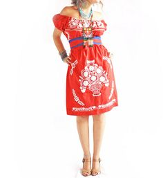 Mexican off the shoulder embroidered dress
