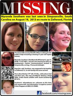 8/19/13: Myranda Southern, 31, last seen in Simpsonville, S.C. en route to Zellwood, FL.
