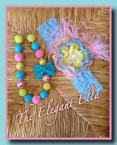 Pink yellow and blue Satin Cabbage rose headband by TheElegantElla, $34.00