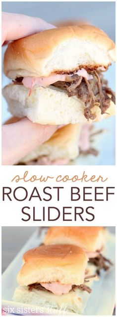 Slow Cooker 3 Envelope Pot Roast Sliders from SixSistersStuff.com. An easy and…