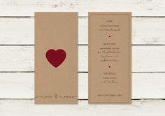 Einladungskarten - Menükarte | Kraftpapier | DIN lang - ein Designerstück von lilalaunedesign bei DaWanda