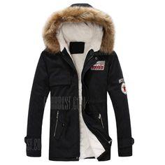 YUNY Mens Cotton Plus Velvet Slim Fit Thicken Denim Parka Jacket 1 XL