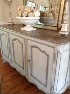 Aged White with Gray Accents. Old Buffet - Sideboard