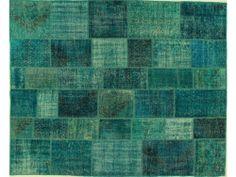 Turquoise Patchwork Overdye Rug PW1938