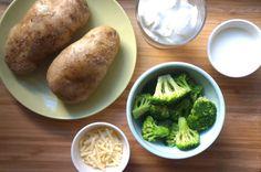 Healthy Broccoli Cheddar Twice Baked Potatoes made with Greek yogurt