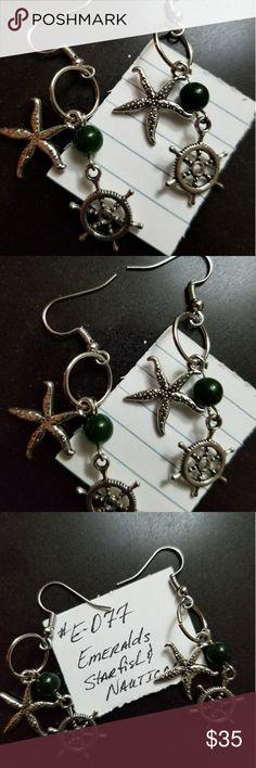 Nautical Emerald Earrings - Pierced - (#E-077) Genuine Semi-Precious Gemstones #EMERALDS  Nickel and Lead Free  Hook Style Earrings for Pierced Ears  Lowest Price for these beautiful Emerald Earrings!  Grade AAA Coastal Focals of VABVA Jewelry Earrings
