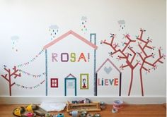 Create a mural in a kid's room. DIY, Tapes decoration, Dekoration mit Klebband