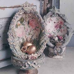 Easter Egg Crafts, Easter Projects, Easter Eggs, Easter Decor, Decoupage, Easter Egg Designs, Egg Art, Egg Decorating, Vintage Easter