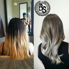 Amazing color correct I did on this attempted ombre! It was definitely a tough one but the colors came out exactly the way I wanted! A nice ash brown base to a smokey blonde ombre! #bescene