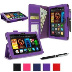 roocase Amazon Kindle Fire HDX 7 Case - Dual Station PU Leather 7-Inch 7 Cover with Stylus - Purple (With Auto Wake / Sleep Cover)