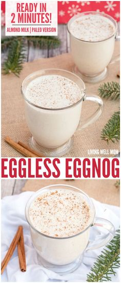 Simple Vegan Eggnog in 2 Minutes (Eggless, Dairy-Free) Eggless Eggnog - In just 2 minutes, you can whip up a batch of this delicious creamy eggfree eggnog! It's also dairy-free, Paleo-friendly, and delicious with almond milk or coconut milk - your choice! Dairy Free Eggs, Dairy Free Recipes, Vegan Recipes, Whole30 Recipes, Egg Free, Gluten Free, Vegan Christmas, Christmas Drinks, Christmas Ideas