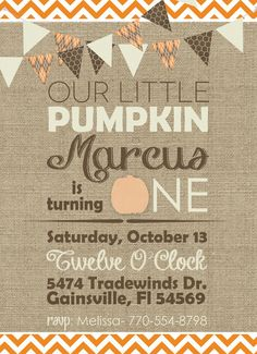 Printable fall Halloween little pumpkin birthday party invitations Burlap and chevron design on Etsy, $13.00