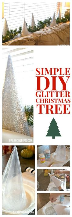 Glitter cone trees DIY | The plastic cones seem like a random find, but cardboard cones should work just as well.