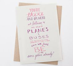 Long Distance Relationship - Planes & Buses -  Long Distance Friendship, Love Card,  Best Friends, Friend Card, Friendship card