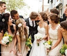 I love the beige bridesmaid dresses and the yellow and white flowers
