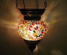 Colorful lantern türkische mosaik lampe glass candle holder hanging Lamp 84 #Handmade #Moroccan