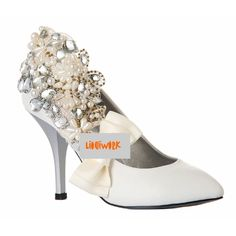 White Leather Couture Sparkly High Heel Dressy Wedding Bridal Shoes  SKU-1090261