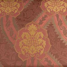 Pineapple Bloom Scroll Fabric Upholstery Decor Damask Sateen Vtg Designer BTY #Unbranded