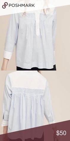 Colorblock 1/2 button down Never worn! New with tags! Blue and white pin stripe top! 3/4 sleeves, button front! Anthropologie Tops Blouses
