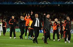 Chelsea celebrate their monumental win over Barcelona in the Champions League semifinal.