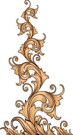 Baroque Design, Baroque Pattern, Pattern Art, Motif Design, Textile Design, Print Design, Boarder Designs, Border Embroidery Designs, Flower Art Images