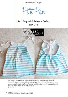 Knit Bodice/Top with Collar Pattern