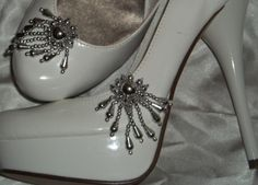 Bridal Shoe Clips  set of 2  Silver Beaded Shoe by ShoeClipsOnly, $16.00