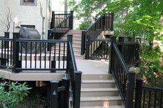 View our Deck and Railing photo gallery. Get outdoor living inspiration with our variety of Deck photos. Deck designs and plans. Deck Design Plans, Vinyl Deck, Deck Railings, Black Railing, Black Deck, Deck Colors, Deck Pictures, Porch And Balcony, Cool Deck