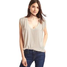 Gap Women Scoop Cap Sleeve Stripe Tee ($28) ❤ liked on Polyvore featuring tops, t-shirts, brown stripe, regular, scoop neck t shirt, ruched t shirt, pink jersey, cap sleeve tee and cap sleeve t shirt