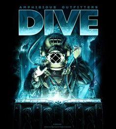 Amphibious Outfitters T-shirt - Deep Treasure - Black - Scuba - Best Scuba Diving, Scuba Diving Gear, Cave Diving, Sea Diving, Diving Suit, Scuba Diver Costume, Scuba Diving Magazine, Dive Flag, Diving School
