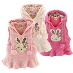 Nueva niña chaleco de conejo bunny vestido de paño grueso y suave conejo cálido chaleco chaleco polar fleece vestido,( 1pcs/lote 3 colores)