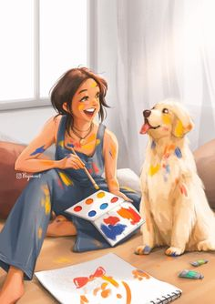 So Much Fun With You - Art Print - Life With Dog - Cute Animal - Dog Painting - Fun Moment With Pet - Pet Art - Peijin
