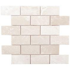 "Faber Alara Crema 4"" x 2"" Marble Brushed Mosaic in Light Beige"