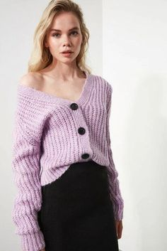 Women's Lilac Tricot Cardigan – Blushgreece.shop Sweater Coats, Sweaters, Winter Coat, Mint Green, Lilac, Knitwear, Buttons, Pullover, Casual