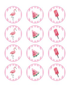 Printable Designs, Printable Stickers, Flamenco Party, Happy Birthday Banner Printable, Gateau Baby Shower, Watermelon Birthday Parties, Aloha Party, Birthday Plate, Baby Shower Crafts