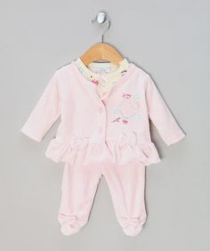 Take a look at this Pink Balloon Velour Jacket, Top & Footie Leggings  by rocka-bye baby