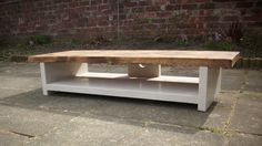Tv stand very Low height rustic pine Plasma by Redcottagefurniture