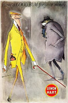 Ronald Searle Illustration for Lemon Hart Rum. #20thCmod
