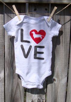 Cute Dachshund Love Custom Baby Onesie / Toddler Tee - DOXIE LOVE on Etsy, $19.00