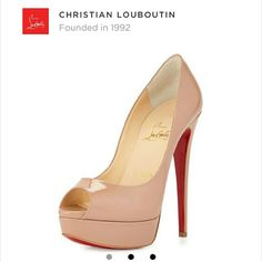 """Authentic Christian Louboutin lady peep platform Authentic! Original box, bag, and i bekieve i have receipt too! Like new!! Purchased from Barneys New York. Christian Louboutin  lady peep platform heel (nude/beige blush). 6"""" (150mm) heel. 25mm platform (approximately). Peep toe, patent leather covered platform and stiletto. Slip on smooth leather lining. Made in Italy. Signature red leather sole. Worn 2x  only to a wedding and dinner Christian Louboutin Shoes Platforms"""