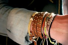 Dahl Court Tie Bracelet and Auburn Pyramid Bracelets from Free People