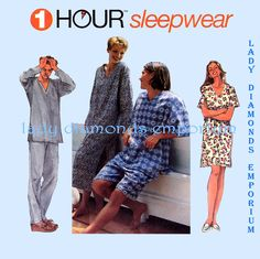 Simplicity 9391 Mens Womens Teens 1 Hour Sleepwear Unisex Pajamas Nightshirt Nightgown Top Pants size XS S M Vintage Sewing Pattern Uncut by ladydiamond46 on Etsy