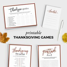 Gratitude A to Z Thanksgiving Game Friendsgiving Thanksgiving Favors, Thanksgiving Activities, Dinner Party Games, Party Packs, Party Printables, Place Card Holders, Friendsgiving Ideas, Holidays, Gratitude