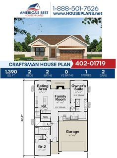 Covered in stunning Craftsman details, Plan 402-01719 offers 1,390 sq. ft., 2 bedrooms, 2 bathrooms, a vaulted owners suite, an office and a kitchen island. Visit our website for more details about this Craftsman design..#craftsmandesign #homesweethome